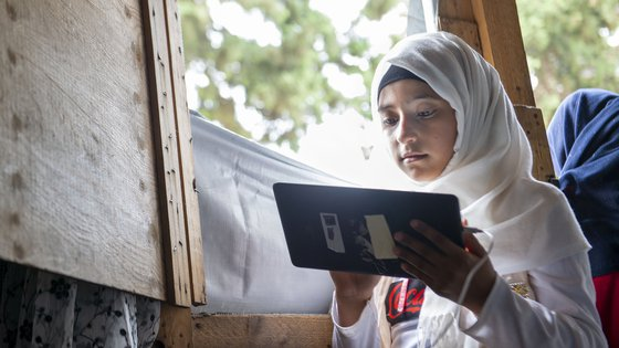 Laila benefits from Can't Wait to Learn tablet education in Lebanon so she can continue learning despite the coronacrisis