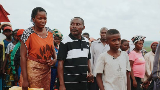 Boy Nelson with his parents from DR Congo fled to Uganda for safety - War Child