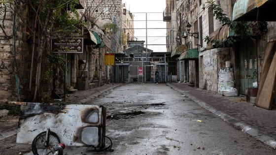 Image of street in Hebron, OPT, near War Child programme for children