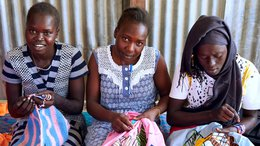 South Sudanese youth stitching - War Child projects